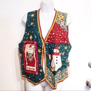 Tacky Christmas Holiday Embellished Vest & Pins